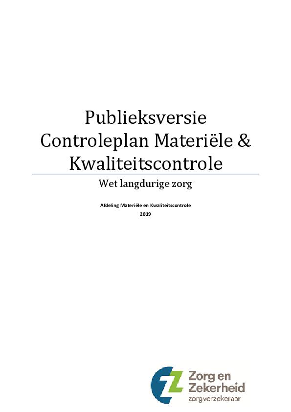 Publieksversie Controleplan Materiële & Kwaliteitscontrole